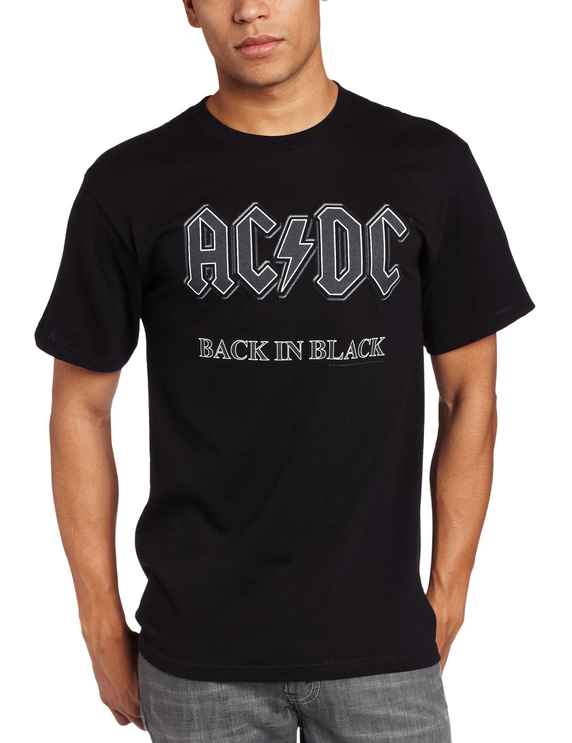 Impact Men's AC/DC Back In Black Short Sleeve T-Shirt at Amazon Men's Clothing store: Fashion T Shirts