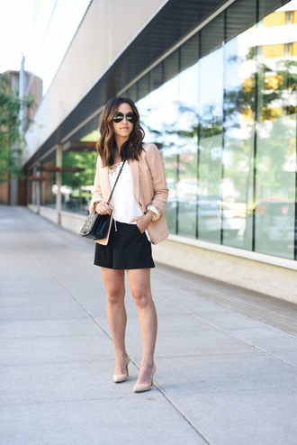 crystalin marie blogger tank top jacket shorts shoes bag jewels black shorts blazer white top lace up top nude heels shoulder bag round sunglasses