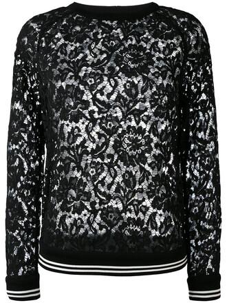 top lace top women lace cotton black