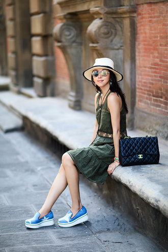 fit fab fun mom blogger dress shoes bag hat sunglasses jewels white hat chanel green dress round sunglasses flats printed slippers slip on shoes chanel bag