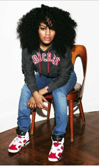 teyana taylor curly hair hoodie swag jeans jordans natural hair black girls killin it jacket