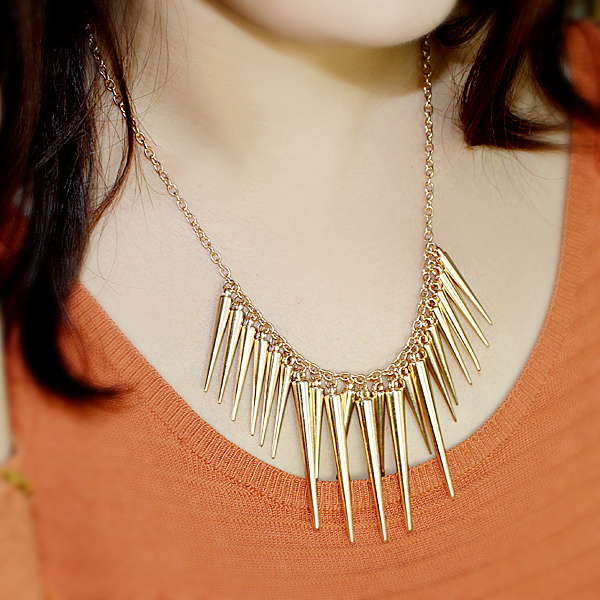 Exaggerate Gold Plated Spike Necklace - Sheinside.com
