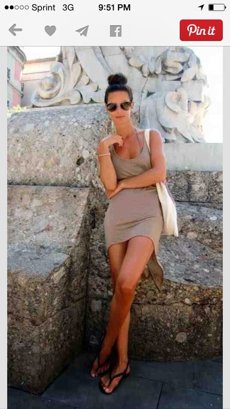 dress tan dress sundress high-low dresses tank top dress