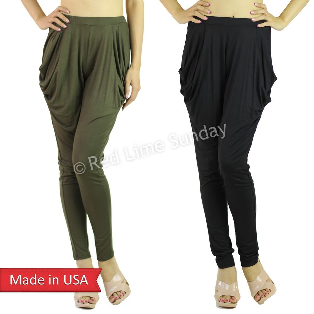 Black Olive Boho Hippie Low Crotch Slouch Genie Harem Pants Leggings Bottom USA