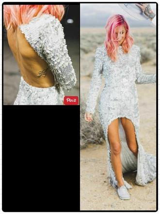 dress silver sequin dress long sleeve sequin high low dress