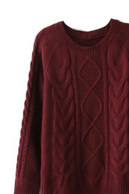 Diamond Cable Knit Burgundy Jumper | Pariscoming