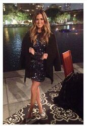 dress,sequins,sequin dress,prom dress,mini dress,jojo fletcher,pumps,blue dress,long sleeves,the bachelorette,silver shoes,party dress,evening dress,black coat