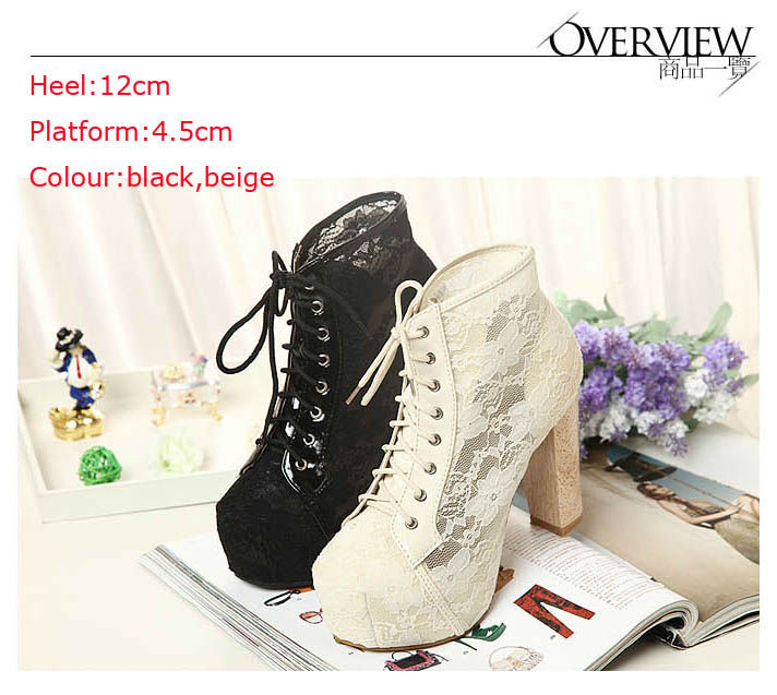 2013 Jeffrey Campbell Style spring and autumn fashion high heeled shoes thick heel lace platform boots free shipping-in Boots from Shoes on Aliexpress.com