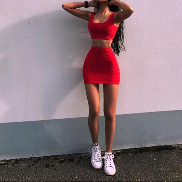 red mini skirt bodycon \u003e Clearance shop