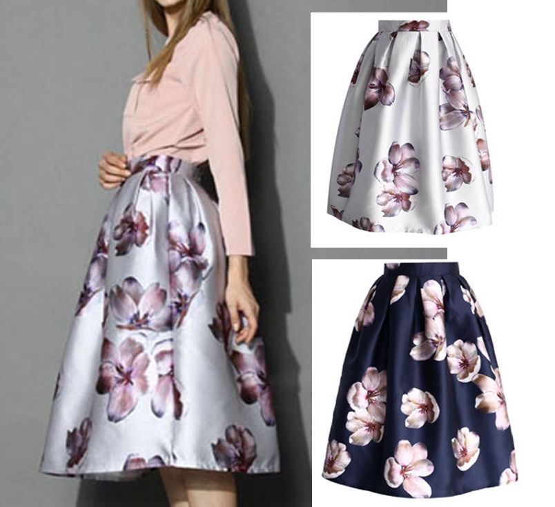 Hepburn Floral Print High Waist Pleated Midi Skirt Ball Gown Swing ...
