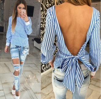 blouse stripes blue white backless fashion outfit