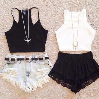 tank top black crop top white crop tops blouse crop tops lace boho vintage shorts outfit cute top high waisted shorts jewels