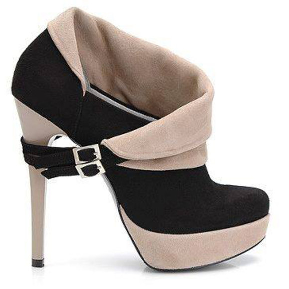 shoes boots ankle boots high heels black and beige