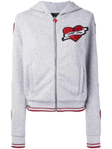 PHILIPP PLEIN hoodie heart women cotton grey sweater