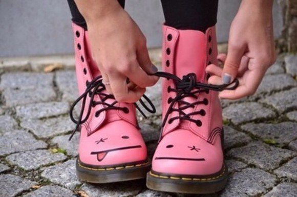 shoes DrMartens pink smileys pastel boots combat boots cute winky eye