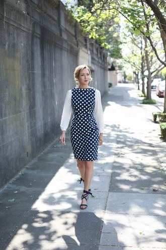 the classy cubicle blogger jewels blue dress polka dots long sleeve dress black flats lace up