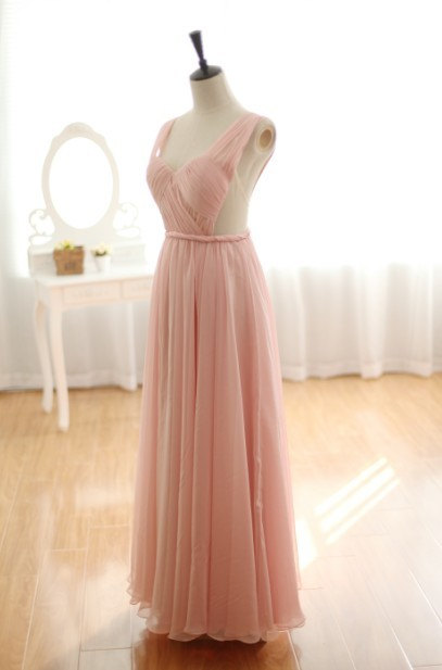 Custom Blush Pink Peach Chiffon Wedding Dress Sexy Wedding ...
