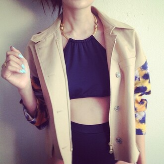 tank top top shirt blouse black blue khaki jacket shorts clothes yellow gold halter neck trill cute crop tops white fashion nail polish high waisted pants coat