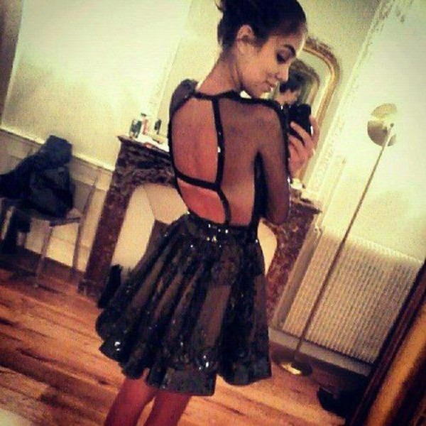 dress sheer chiffon skirt black lace sequins mirror iphone backless black dress sequins gown