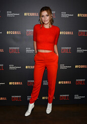 pants,top,red,red pants,bella thorne,ankle boots