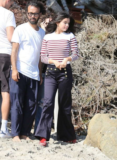 sweater stripes striped sweater jumper pants selena gomez