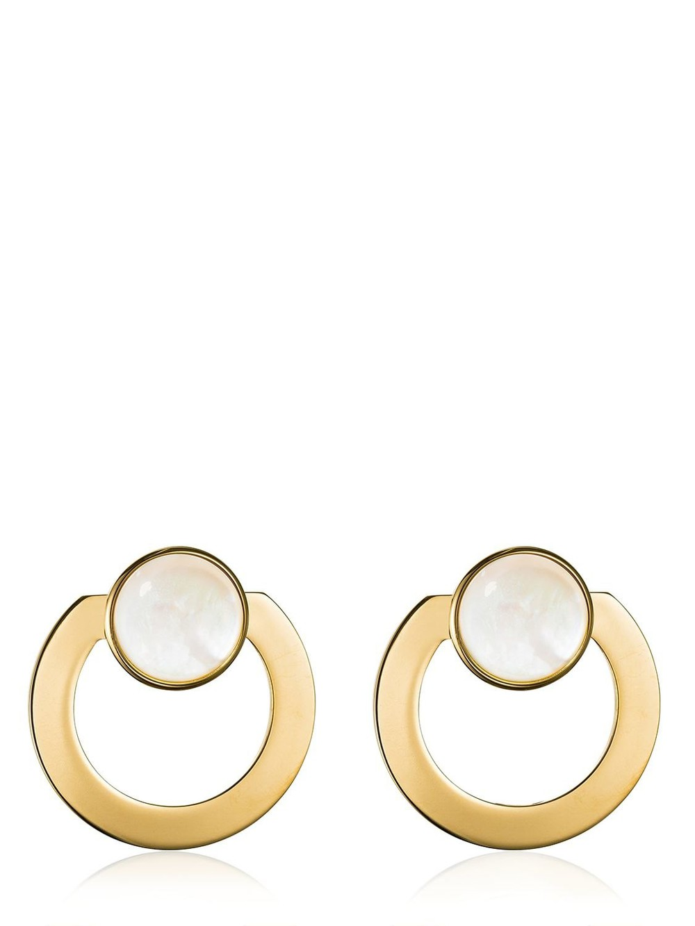VITA FEDE Moneta Open Mother Of Pearl Earrings in gold