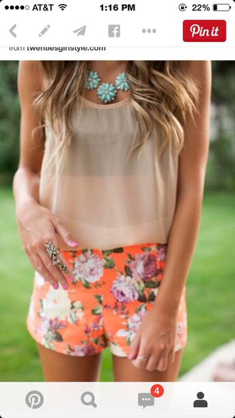 shorts floral pants style flowered shorts tumblr outfit cute outfits tank top