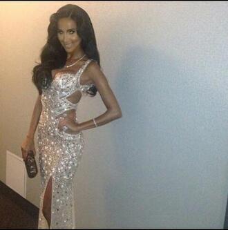 dress evening dress embellished prom dress cut-out jeweled long prom dress sequin prom dress