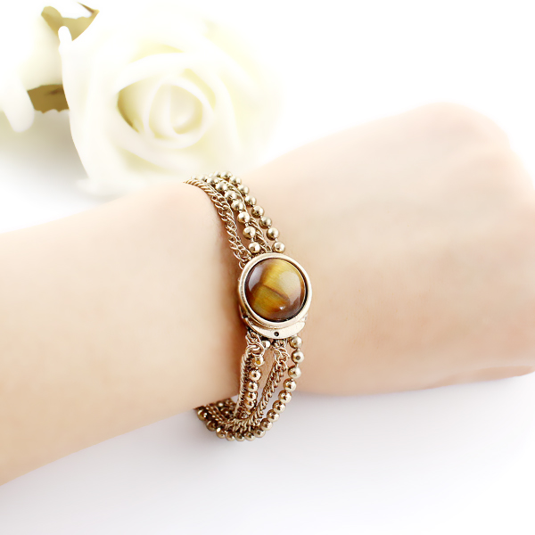Brown Gemstone Gold Multilayer Bead Chain Bracelet - Sheinside.com