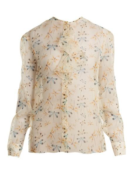 Rochas blouse ruffle dragonfly print silk white top