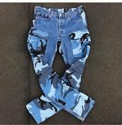 jeans,camouflage,blue,black,pants,pattern,camo pants,cute
