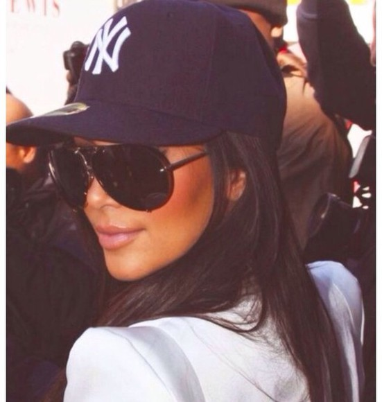 white ny hat kim kardashian baseball hat navy