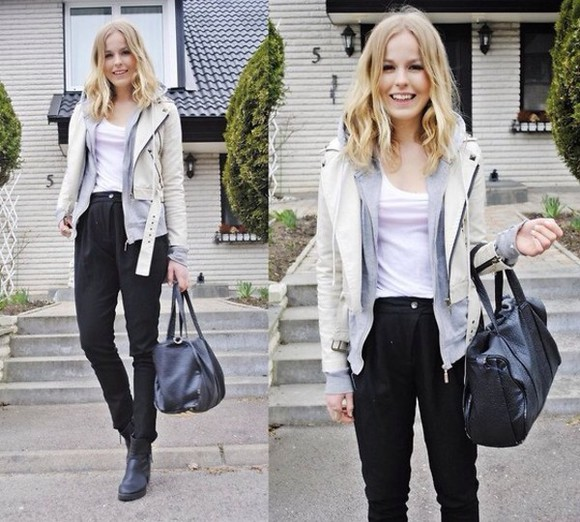 leather jacket moto jacket hoodie jacket white leather cute blonde pants bag