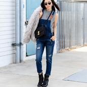 fit fab fun mom,blogger,coat,shoes,bag,sunglasses,jewels,jumpsuit,denim jumpsuit,blue