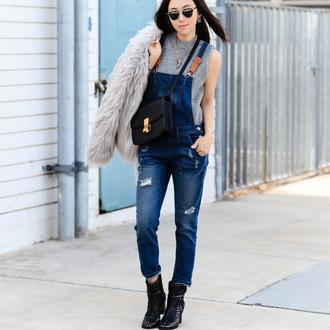 fit fab fun mom blogger coat shoes bag sunglasses jewels jumpsuit denim jumpsuit blue