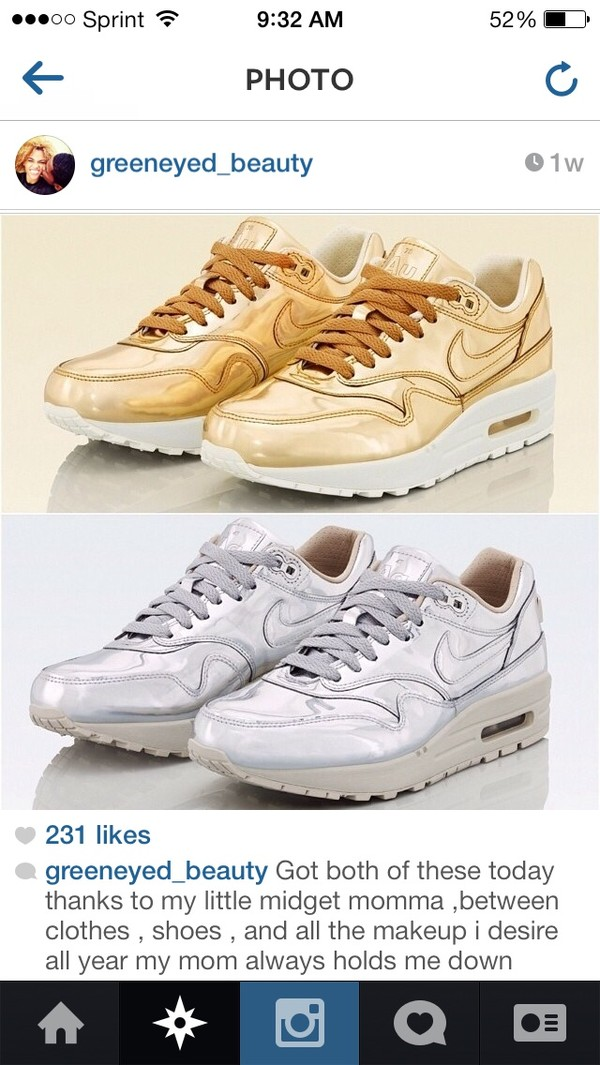 shoes nike gold silver nike sneakers