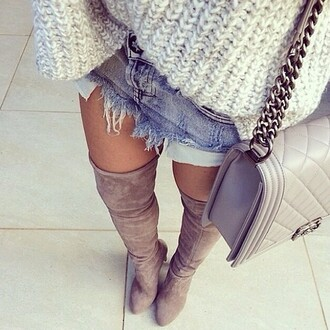 shoes boots thigh highs beige knee high autumn/winter bag pia mia perez grey chanel chanel bag louboutin