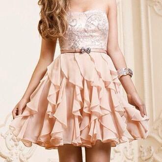dress pink sparkle layers ruffled prom dress