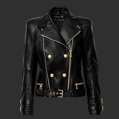 Black Leather Jacket With Gold Hardware - JacketIn