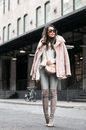 wendy's,lookbook,blogger,jacket,top,sweater,bag,shoes,sunglasses,jewels,pink coat,crossbody bag,winter outfits,boots,thigh high boots,grey boots