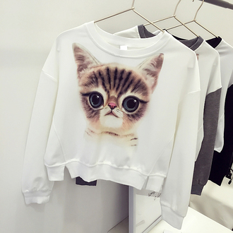 sweater cats cute pullover kawaii fashion style white animal stylish fall outfits adorable outfit trendy winter sweater