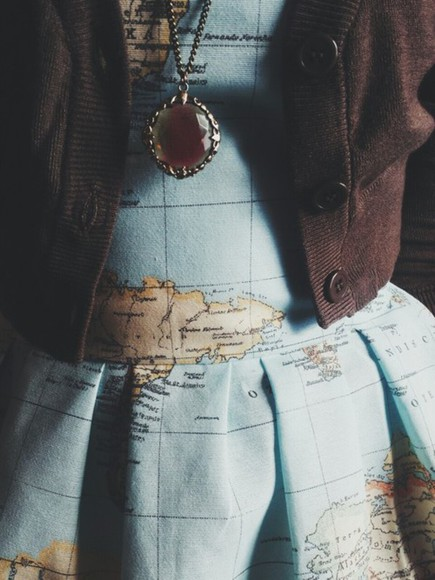 girly girls map print map print explore style outfit adorable tumblr outfit jewels clothes dress world map