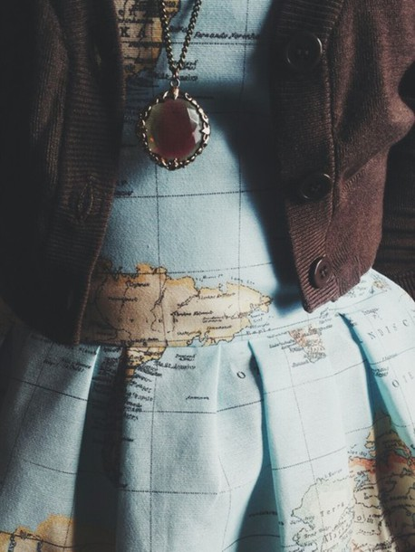 Clothes Dress Map Print Jewels New Years Resolution Explore Style Outfit Girl Girly Lovely Tumblr Adventure Travel