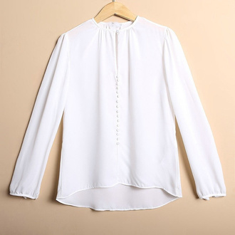 blouse brenda-shop shirt top office wear work wear elegant buttons white chic style casual going out party