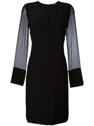 dress shift dress sheer women black silk