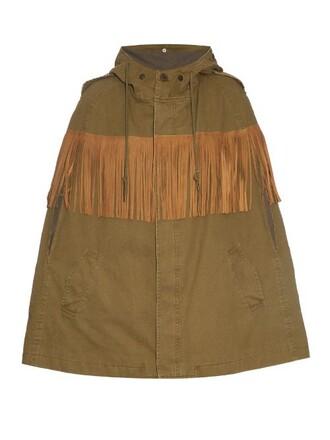 cape cotton suede khaki top
