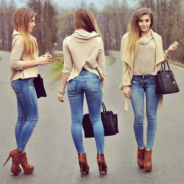 cardigan nude beige cute jeans