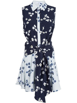 dress sleeveless women floral blue silk