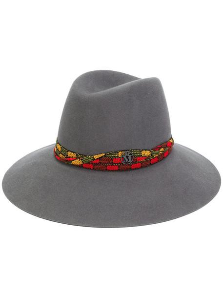 Maison Michel embroidered women hat fedora grey