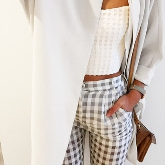 pants jacket coat top crop tops jeans fashion girl outfit print pattern neutral white grey tan fall outfits spring texture fabric high waisted style tumblr outfit classy gingham minimalist tank top squared pants geometric formal office outfits blouse white shirt
